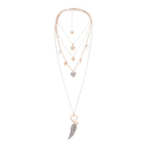 BiBi Bijoux Silver/Rose Gold Charm Layered Necklace