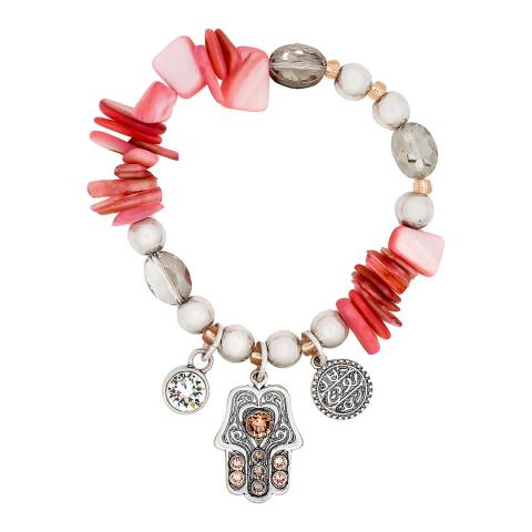 BiBi Bijoux Silver/Rose Gold /Coral Shell Bracelet