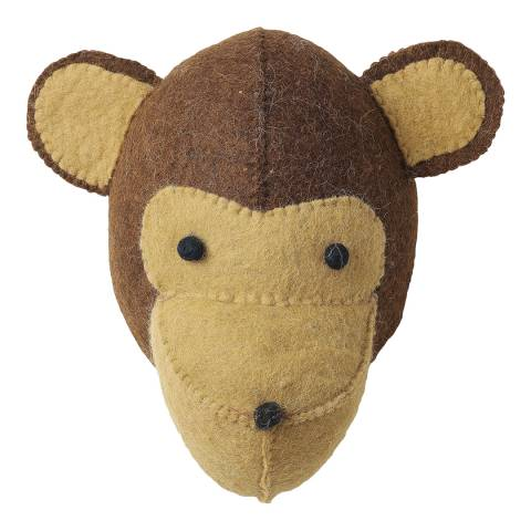 Mr. Fox Brown Monkey Felt Wool Head