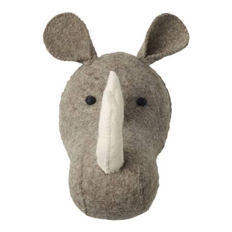Mr. Fox Grey Rhino Felt Wool Head
