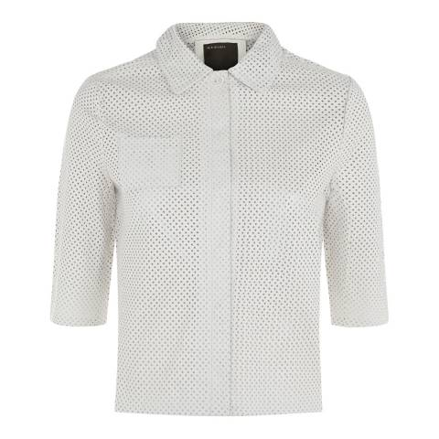 Muubaa White Franca Cropped Perforated Leather Shirt