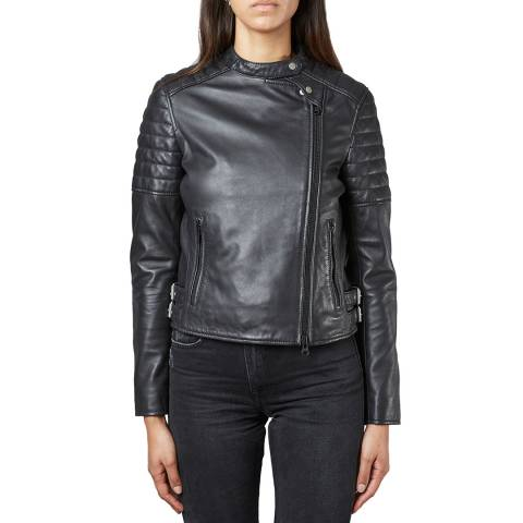 Muubaa Black Murre Leather Biker Jacket