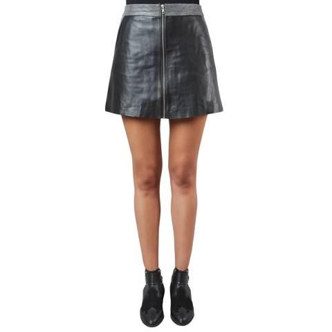 Muubaa Black/Black Impala Crackle Leather A-Line Skirt