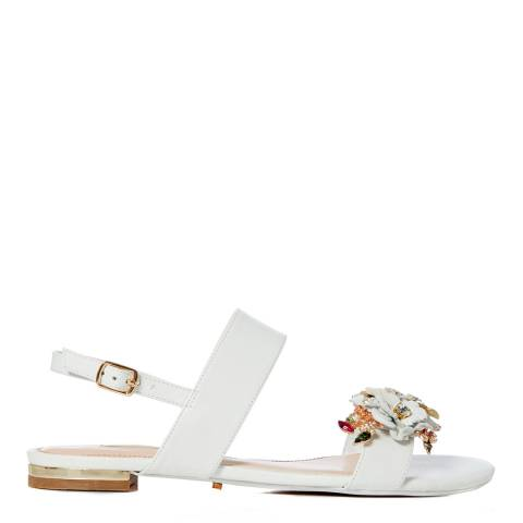 Dune London White Leather Kiko Sandals