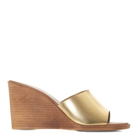 Dune Gold Leather Kimia Wedge Sandals