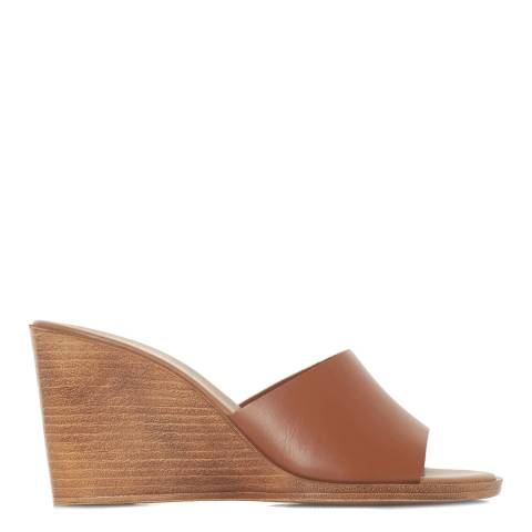 Dune Tan Leather Kimia Wedge Sandals