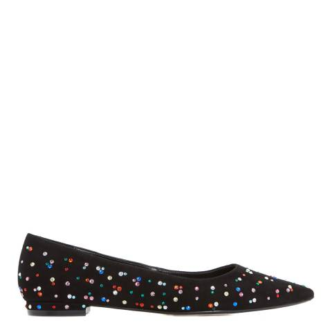 Dune London Black Suede Blackout Jewelled Flats