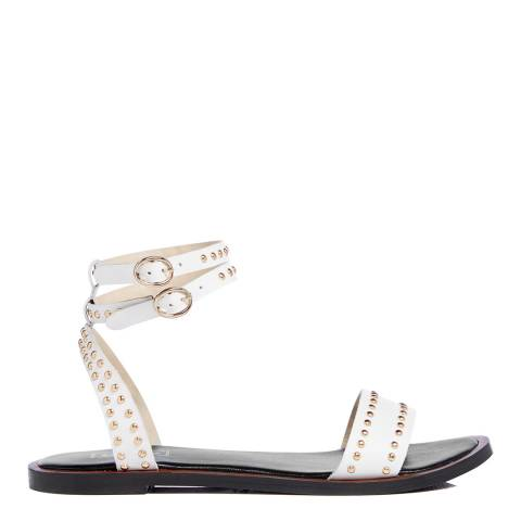 Dune White Leather Lagoma Sandals