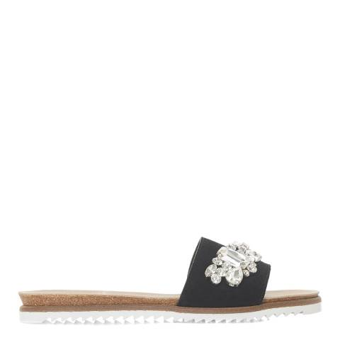 Dune London Black Suede Lala Di Jewelled Slides