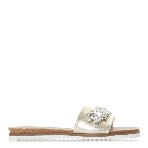 Dune Gold Metallic Leather Lala Di Slides