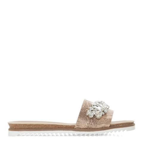 Dune London Rose Gold Reptile Lala Di Slides