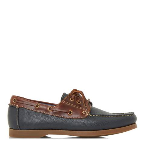 Dune Navy Leather Boater Boat Shoes