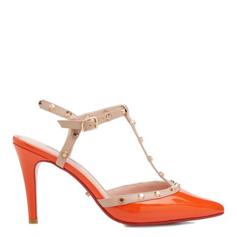 Dune Orange Patent Catelyn Studded T Bar Heels