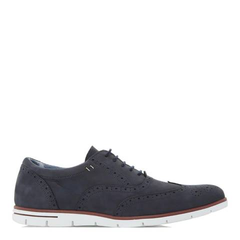 Dune Navy Leather Branson Brogue Shoes