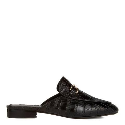 Dune Black Croc Leather Lollita Open Back Loafers
