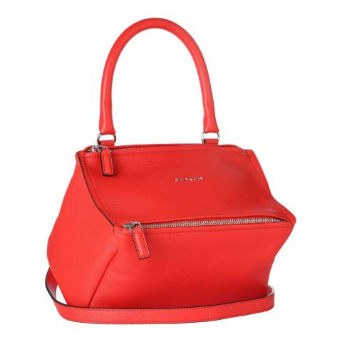 Givenchy Bright Red Small Pandora Textured Leather Bag