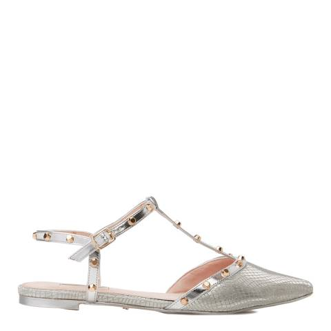 Dune Silver Cayote Studded T Bar Flats