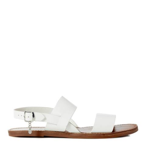 Dune White Leather Lopez Sandals