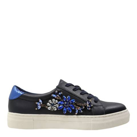 Dune Navy Leather Emerelda Floral Trainers