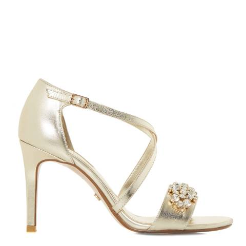 Dune Champagne Leather Marcela Heels