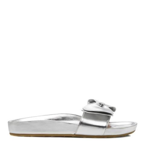 Dune Silver Leather Fenela Bow Slides