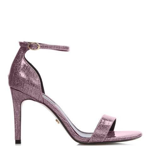 Dune London Pink Patent Suede & Leather Mortimer Heeled Sandals