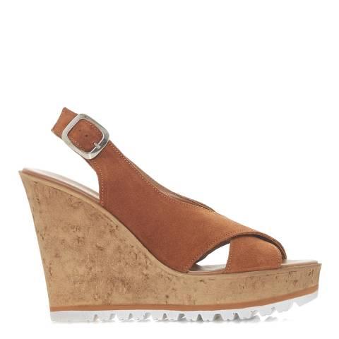 Dune Tan Suede Kaia Di Wedge Sandals