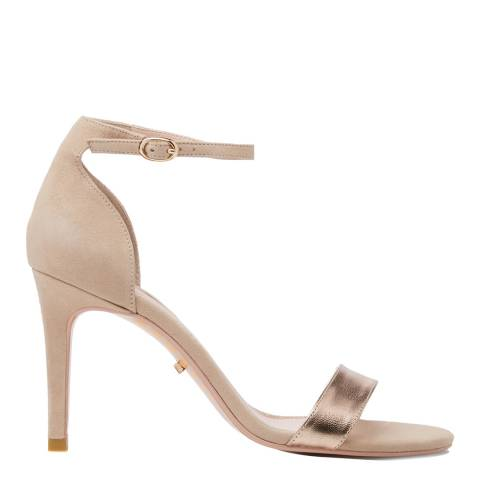 Dune Rose Gold Leather Mortimer Heels