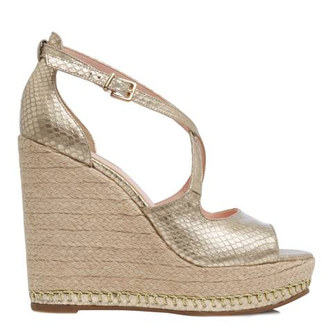 Dune London Gold Leather Kandis Reptile Wedges