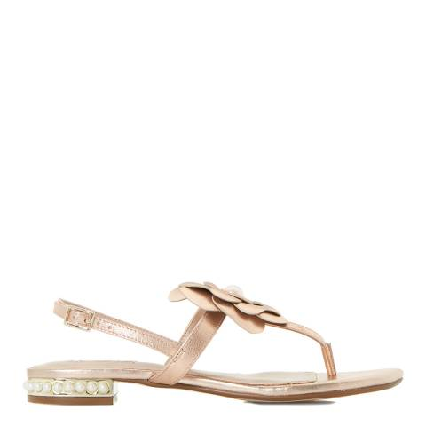 Dune Rose Gold Leather Nelles Flower Sandals
