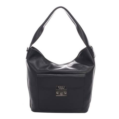 SCUI Studios Black Linda Shoulder Leather Bag