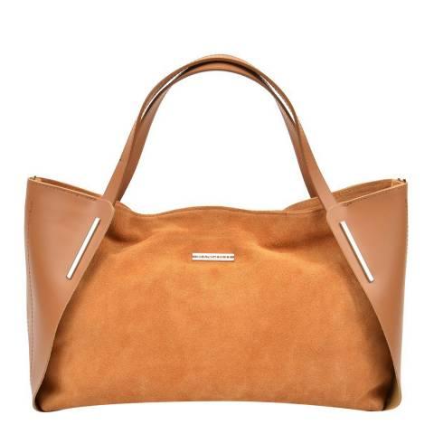 Mangotti Bags Cognac Leather Tote Bag
