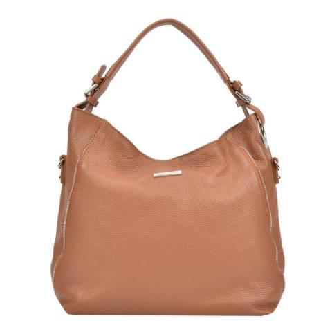 Mangotti Bags Cognac Leather Hobo Bag