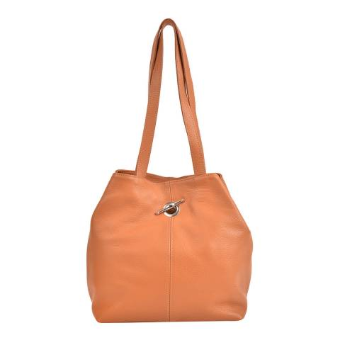 Mangotti Bags Cognac Leather Shoulder Bag