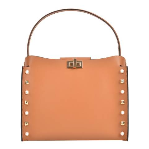 Sofia Cardoni Cognac Leather Top Handle Bag