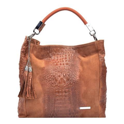 Sofia Cardoni Cognac Leather Hobo Bag