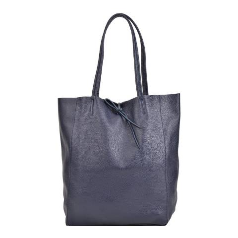 Sofia Cardoni Navy Leather Shopper Bag