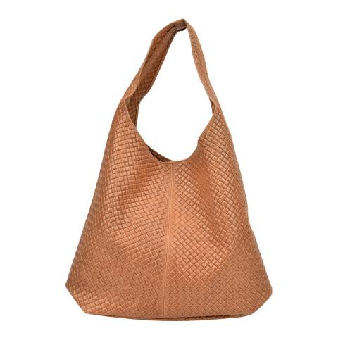 Mangotti Bags Cognac Leather Shopper Bag