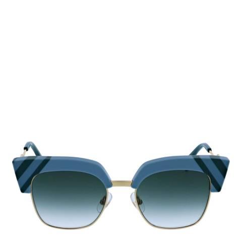 Fendi Women's Light Blue/Green Waves Sunglasses 50mm