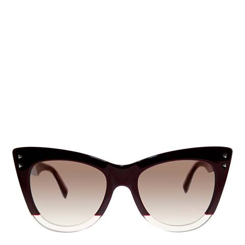 Fendi Women's Burgundy/Opal Crystal Colour Block Sunglasses 52mm