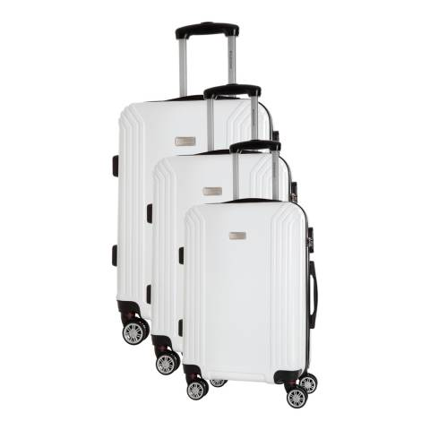 Platinium White Kirwee Set Of Three 4 Wheeled Suitcases 46/56/66 cm