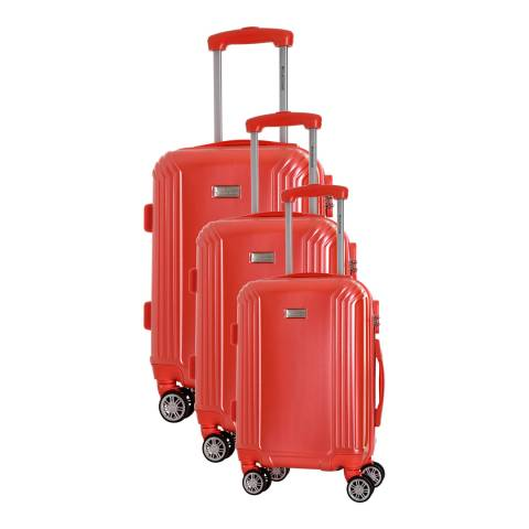 Platinium Red Kirwee Set Of Three 4 Wheeled Suitcases 46/56/66 cm