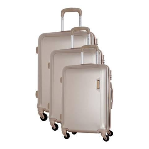 Platinium Beige Buccia Set Of Three 4 Wheeled Suitcases 46/56/66cm