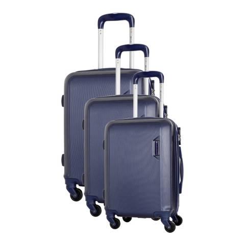 Platinium Marine Blue Buccia Set Of Three 4 Wheeled Suitcases 46/56/66cm