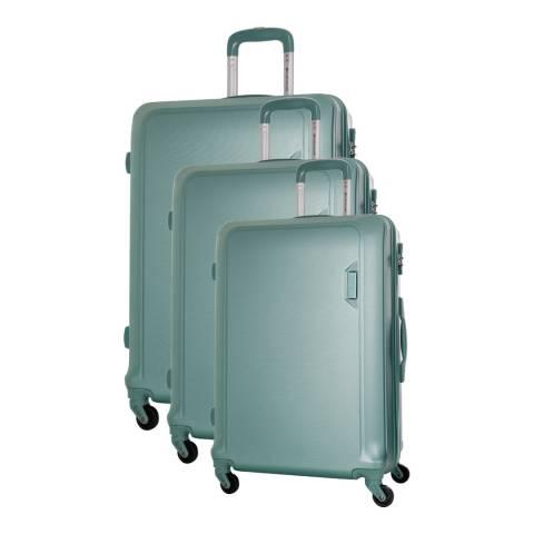Platinium Green Buccia Set Of Three 4 Wheeled Suitcases 46/56/66cm