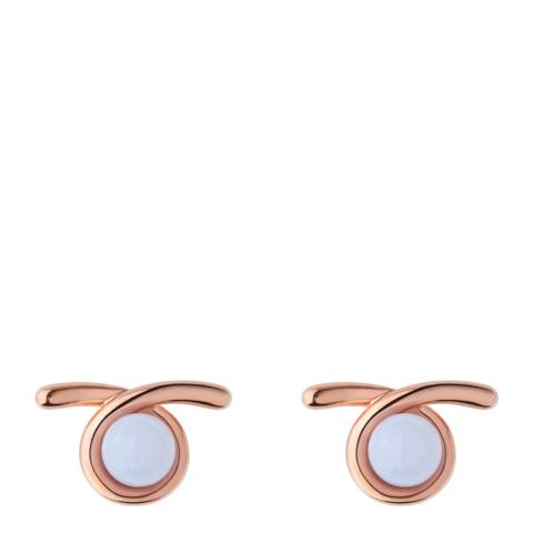 Links of London Rose Gold/White Agate Serpentine Stud Earrings
