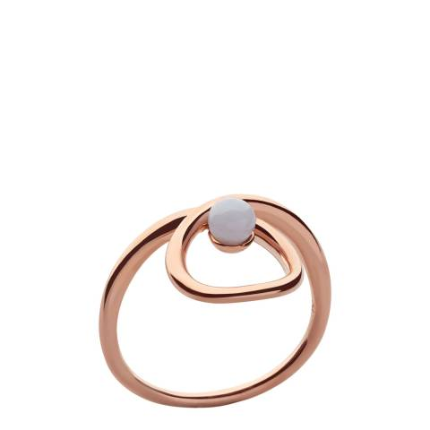 Links of London Rose Gold & Blue Lace Agate Gemstone Serpentine Ring