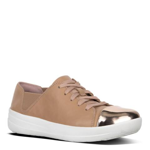 FitFlop Nude Leather Mirror Toe Lace Up F-Sporty Sneakers