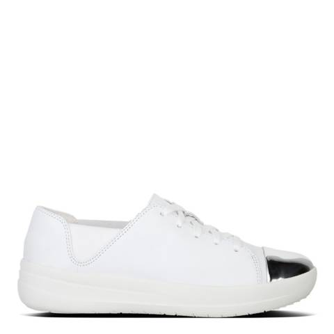 FitFlop Urban White Leather Mirror Toe Lace Up F-Sporty Sneakers