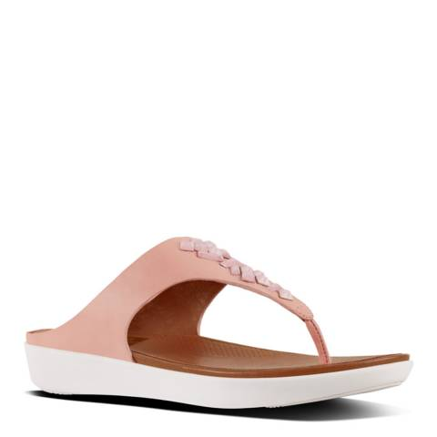 FitFlop Dusky Pink Leather Banda II Crystal Toe Post Sandals